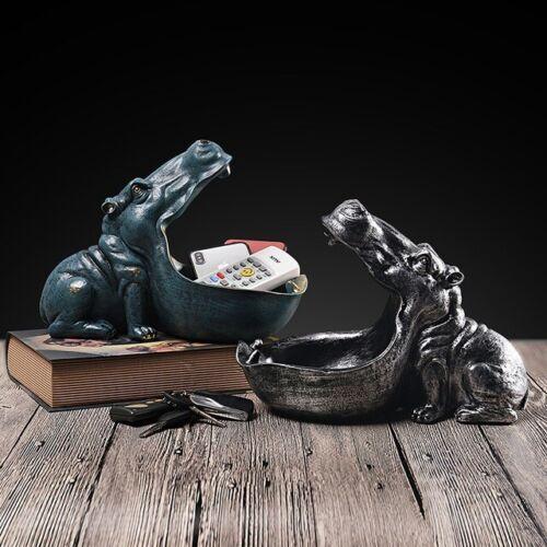 Hippo Animal Statue Desk Home Decor Storage Figurine Sculpture Top Art Ornament