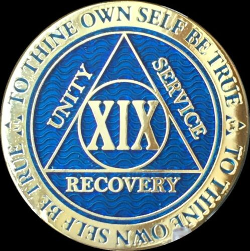 19 Year AA Medallion Blue Gold Plated Alcoholics Anonymous Sobriety Chip Coin