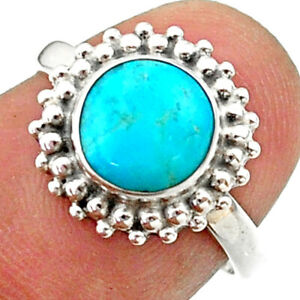 925 Silver 3.11cts Solitaire Blue Arizona Mohave Turquoise Ring Size 6.5 T41310