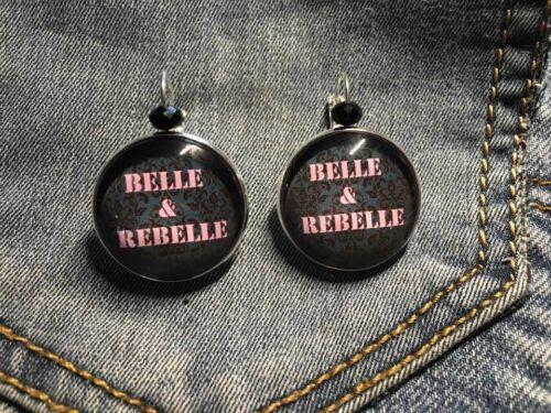 """boucles d/'oreille /"""" belle et rebelle /"""" support argenté"""