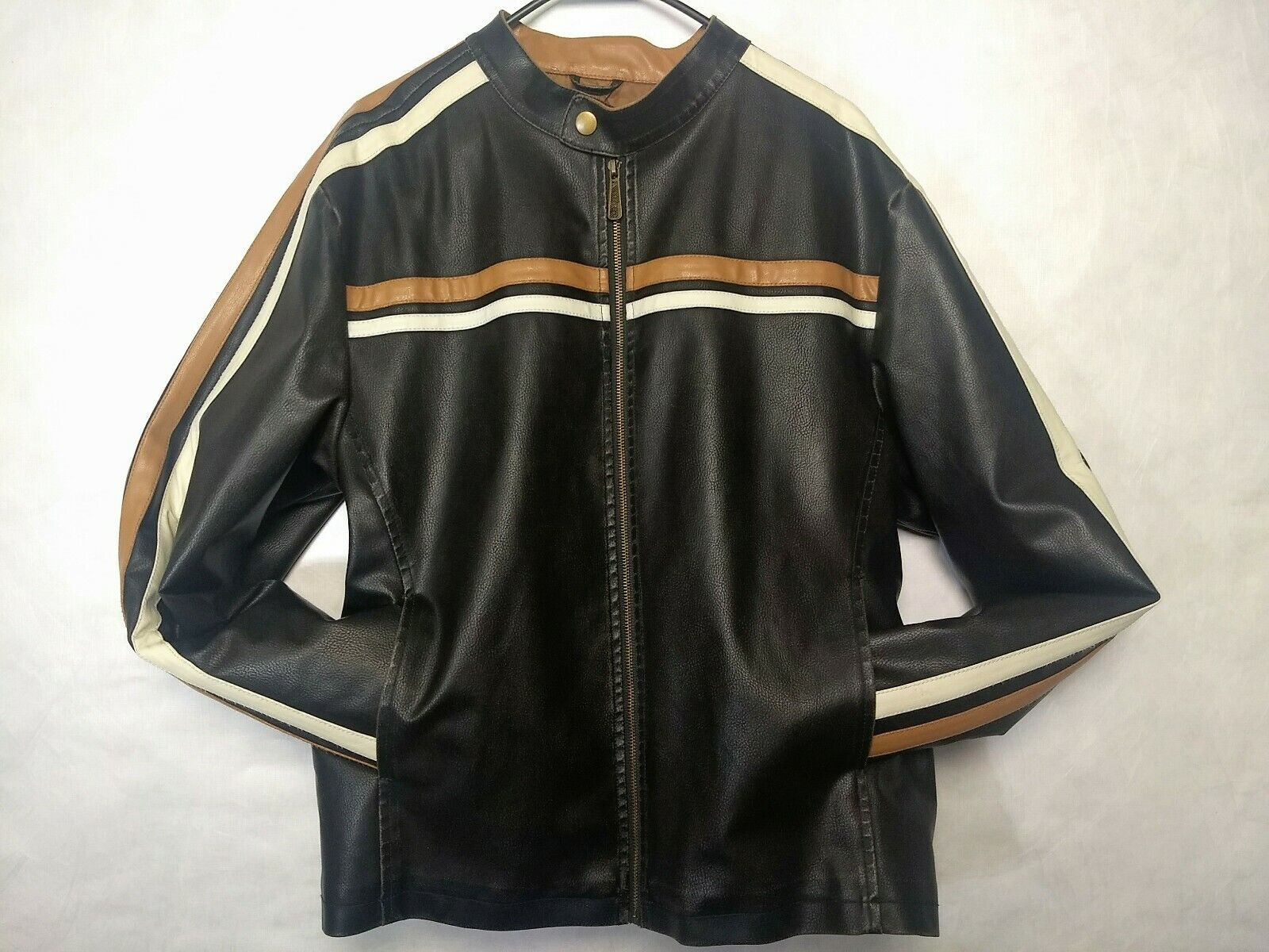 Whispering Smith Faux Cowhide leder Cafe Racer Motorcycle jacke Distressed