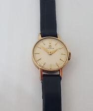Usado Vintage OMEGA sólido 9K Oro Crema Dial Reloj Para Dama CAL:483 de viento manual