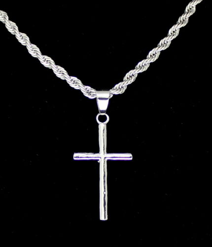 "Men Women Thin Cross Plain Pendant 14k Gold Silver Plated 24/"" Rope Necklace"