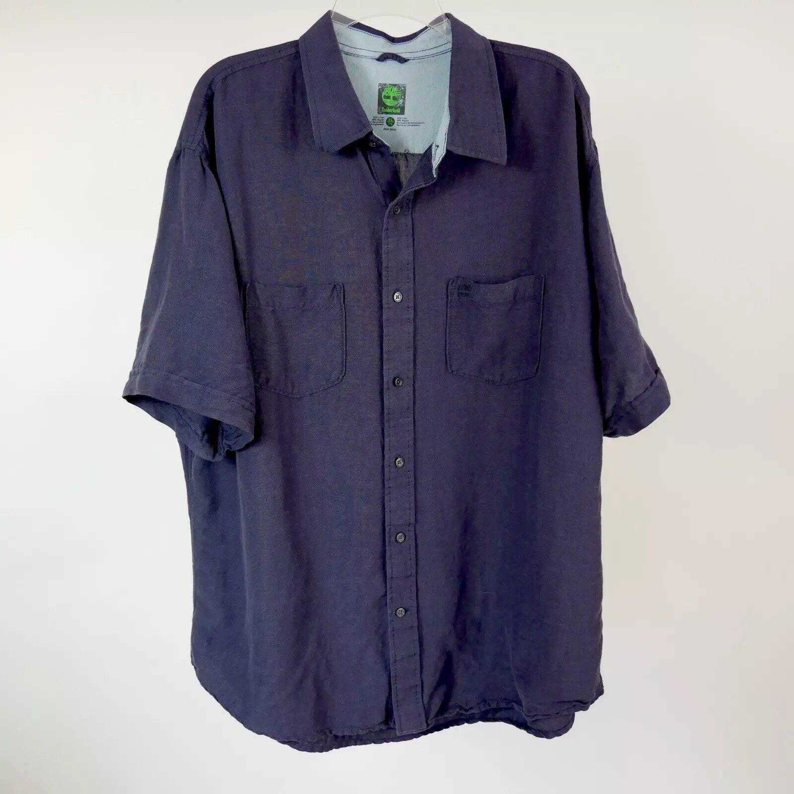 Timblerland XL Linen Mix bluee Camping Button Front Lounge Aloha Beach Shirt