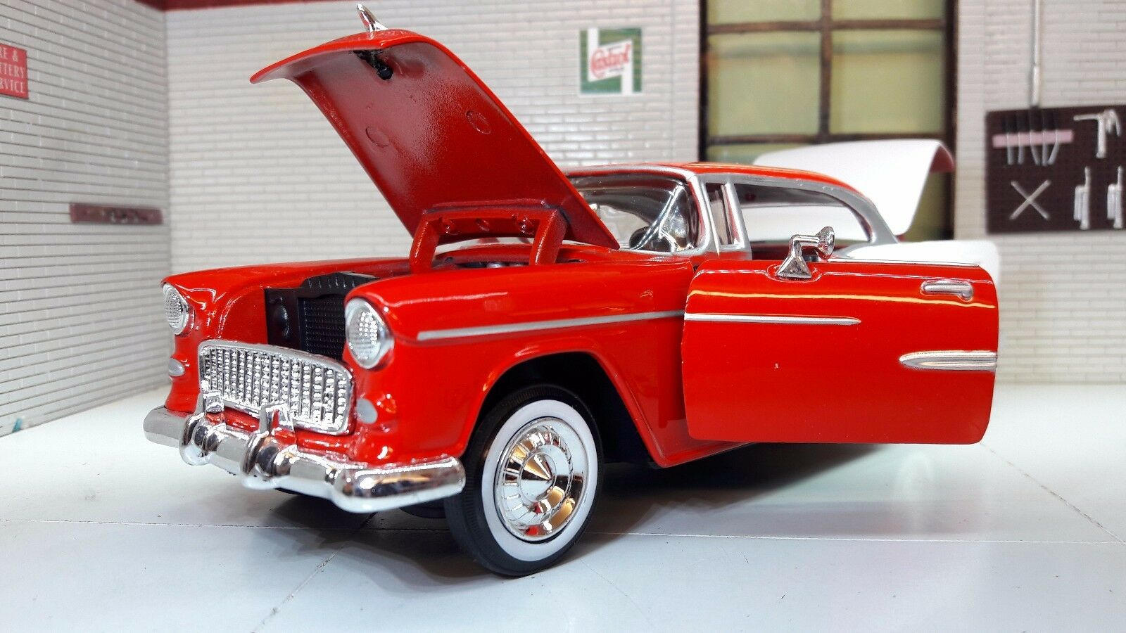 G G G LGB 1 24 Scale 1955 Chevrolet Chevy Bel Air Hard Top Motormax Car 73229 Red fd97e0