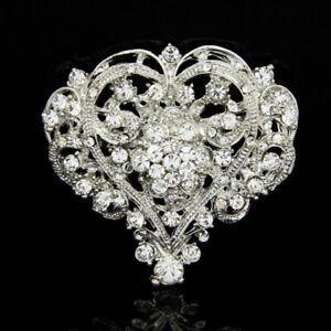 Women-Heart-Shape-Shine-Rhinestone-Brooch-Huge-Size-Wedding-Party-Brooch-Pin