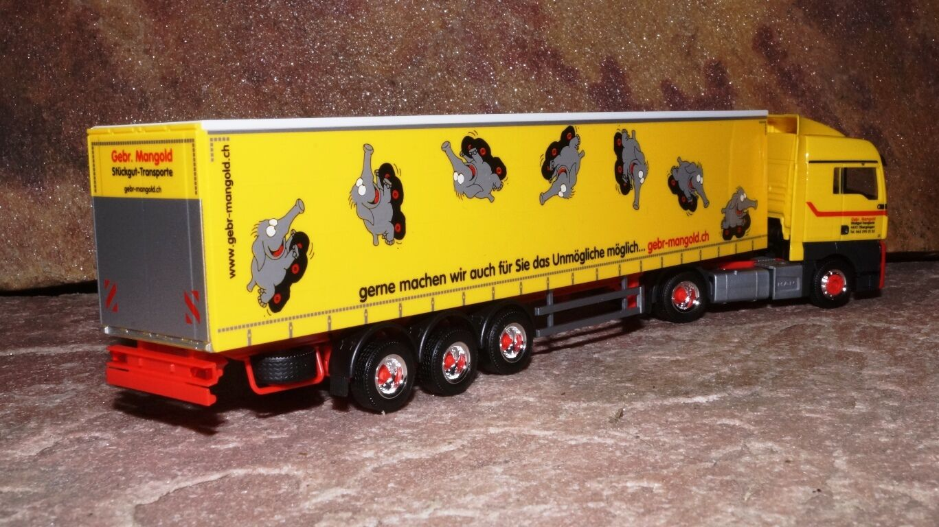 Herpa  MAN TGX XLX Euro6 Gardinenplanen-Sattelzug Gardinenplanen-Sattelzug Gardinenplanen-Sattelzug  Mangold  CH 1 87 b90efd