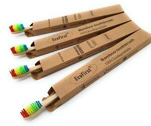 Ecofirst экологически безопасный натуральный бамбуковый зубной щетки взрослые Радуга средний щетины