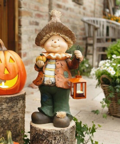 Halloween Figur Vogelscheuche mit Laterne Herbstdeko Dekofigur Gartenzwerg