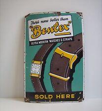 Vintage Bentex Fashion Watch Porcelain Enamel Sign Advertisement