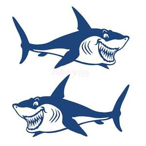 2x Kayak Canoe Cute Shark Decal Sticker Surfboard Car