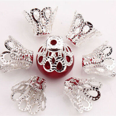 100 Pcs Filigree Flower Cup Shape Silver Loose Bead Caps for Jewelry Making ft
