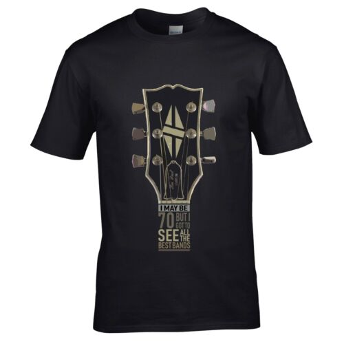 I may be 70 yrs Old Guitar Headstock Best bands mens t-shirt 70th birthday gift