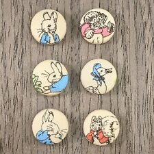 6 handmade 22mm Beatrix Potter Peter Rabbit Fabric Covered Buttons sewing