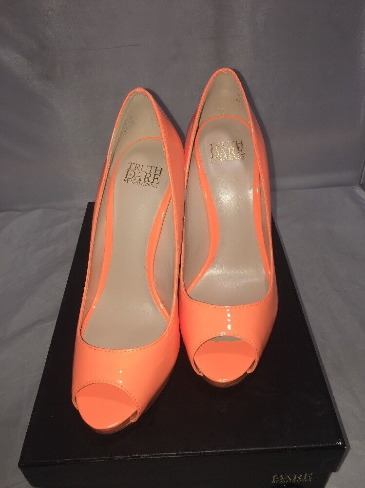 Truth or Dare by MaDamens Damenschuhe Jabulania Peep Toe Classic, Orange, Größe 6.5