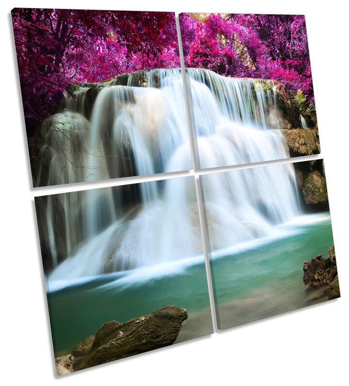 Foresta paesaggio cascata Floreale Multi Tela Wall Art SQUARE Stampa