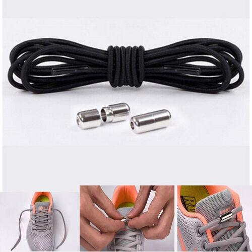 1Pair Shoelaces Elastic Screw Locking Shoe String No Tie BLACK Colour