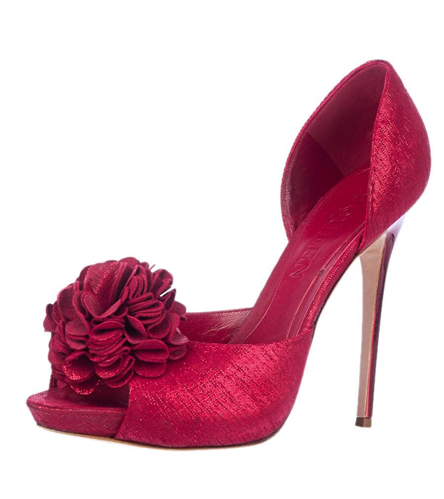 Alexander McQueen Metallic Red Peep-Toe Pumps, Flower Applique sz 40 US 10M