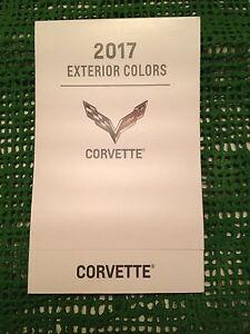 Details about 2017 CHEVROLET GM CORVETTE DEALERSHIP EXTERIOR COLOR CHART NEW