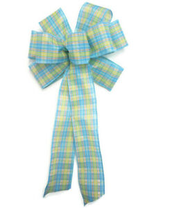 Small 5-6 Wired Medium Blue Linen Wreath Bow