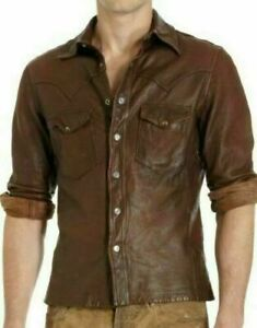 MENS-CASUAL-POLICE-UNIFORM-STYLE-GENUINE-LEATHER-SLIM-FIT-SHIRT-VINTAGE-NEW