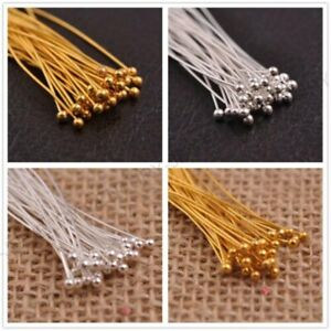 New-200Pcs-Silver-Plated-Head-Eye-Ball-Pins-Jewelry-Finding-Any-Size-to-Choose