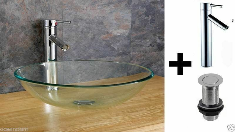 LUSSO Bagno Vetro Trasparente bacino Sink Chrome rubinetto miscelatore pop-up anello per montaggio dei rifiuti