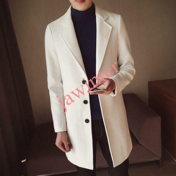 Stylish Men Slim Fit Long Trench Coat Outwear Overcoat Fashion Wool Blend Winter