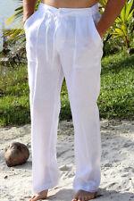 Mens Bohio 100% Linen White Casual Flat-Front Drawstring Pants (S ~ 2XL) - MLP19