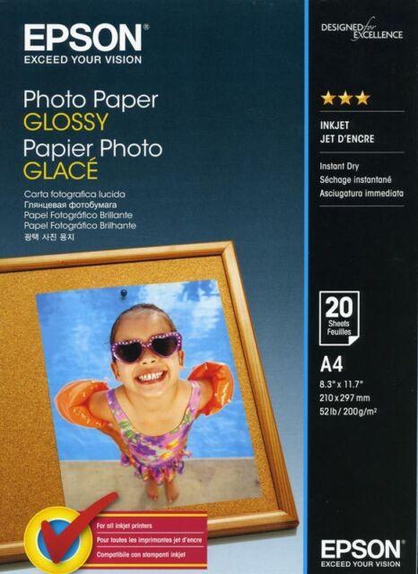 Papier Epson Glossy Photo A4 20 feuilles 200g C13S042538