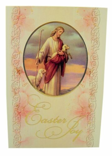The Good Shepherd Gold Embossed Easter Greeting Cards with Envelopes, Pack of 10