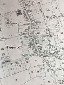 1927 Ordnance Survey Map Plan PRESTON HULL Vintage Mancave interiors Display Old