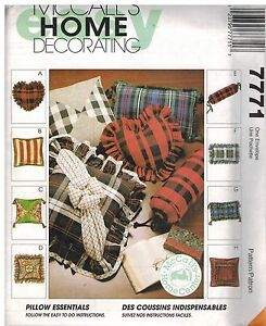 7771 Uncut Vtg Mccalls Sewing Pattern Home Decor Pillow Essentials Heart Bolster Ebay