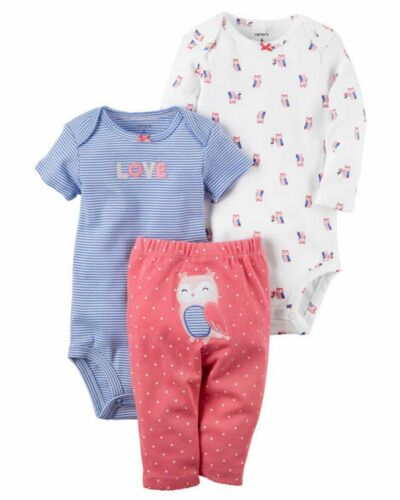 New Carter/'s Girls 3 Piece Owl Turn Around  Outfit Set 24m 18m 12m 9m 6m 3 NB P