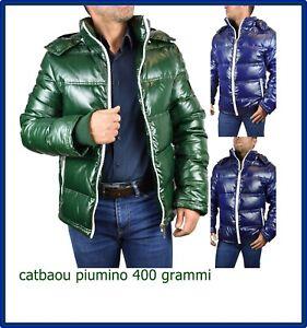 Piumino-giubbotto-giubbino-da-uomo-bomber-invernale-lucido-con-cappuccio-blu-M-L
