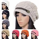 New Women Braided Winter Warm Baggy Beanie Knit Oversized Crochet Ski Hat Cap 35