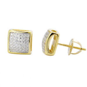Men-039-s-Small-10k-Yellow-Gold-Sterling-Silver-Lab-Diamond-Stud-Earrings