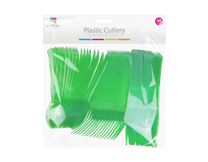 REUSABLE PLASTIC METALLIC CUTLERY SET PARTY FORKS SPOONS 48 GREEN  DISPOSABLE