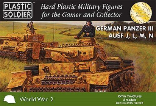 15mm 5x Tedesco Panzer Iii Ausf J, L, M, In - Plastica Soldato Azienda - Ww2 Regalo Ideale Per Tutte Le Occasioni