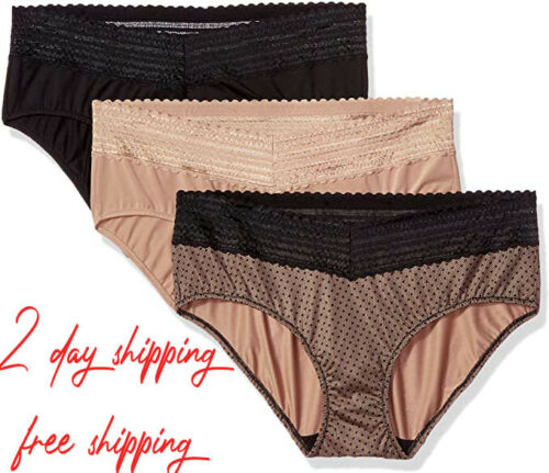 Warner/'s Women/'s Blissful Benefits No Muffin Top 3 Pack Hipster Panties 2D shipp
