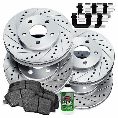 For 2011-2012 Hyundai Elantra Front Rear Slotted Brake Rotors+Ceramic Brake Pads