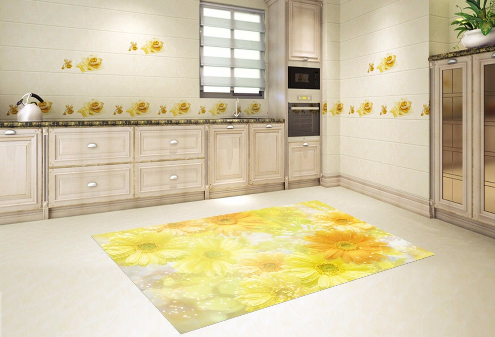 3D Gold Daisy 81  Kitchen Mat Floor Murals Wall Print Wall AJ WALLPAPER AU Carly