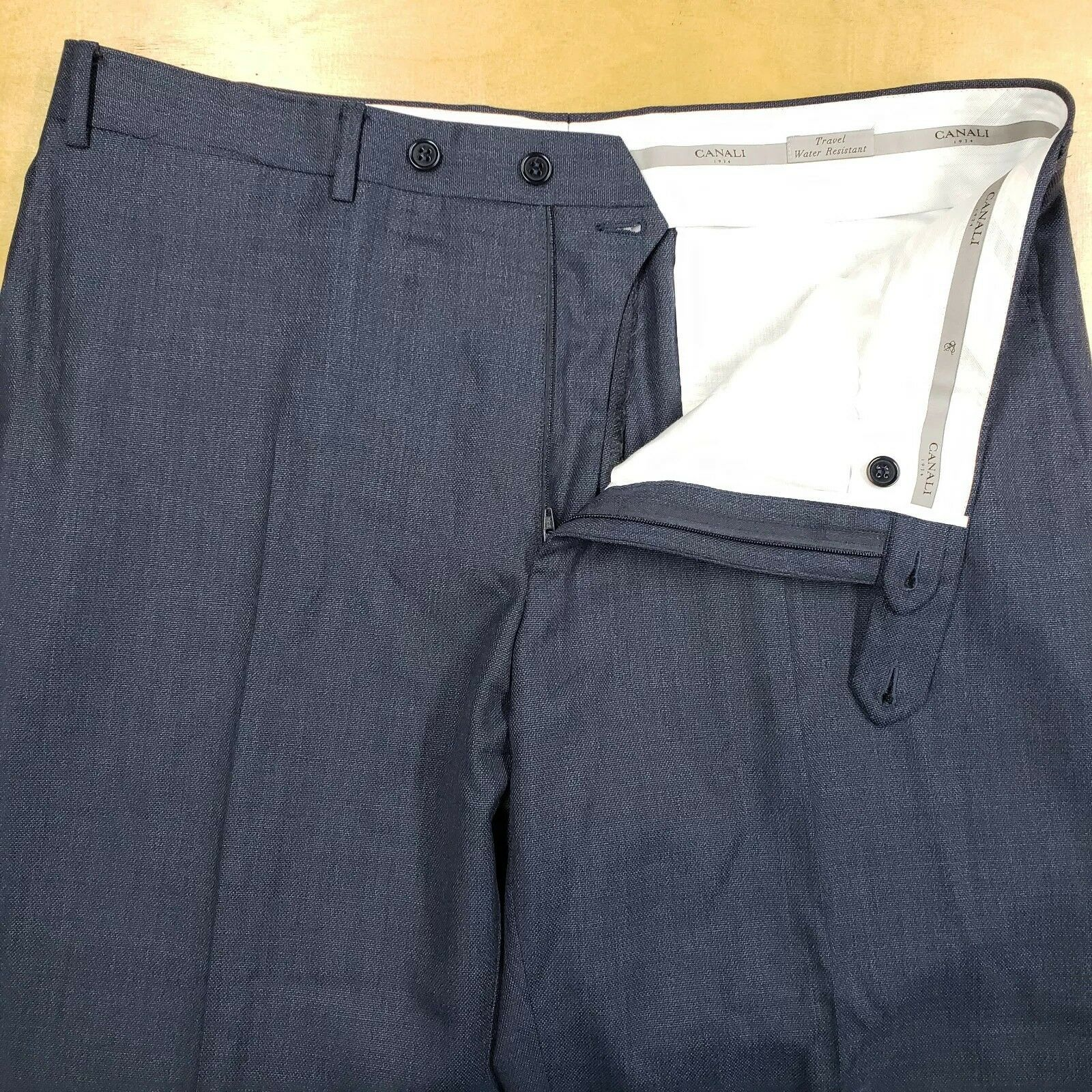 Current Canali 1934 Travel Water Resistant Woven bluee 5 Pkt Pants 35  EUC