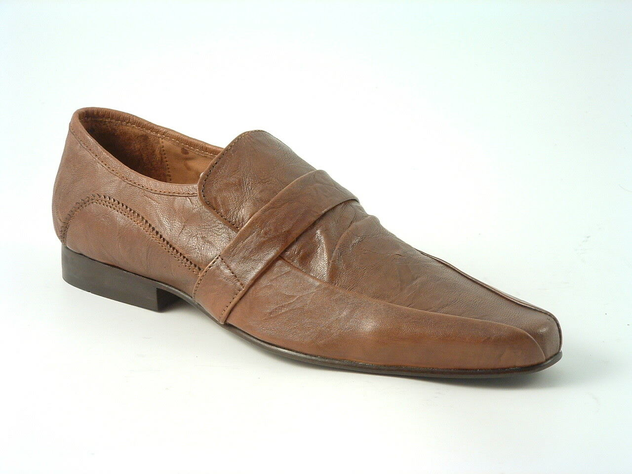 Tissotti Men's Tan On Crunch Leather Tab Slip On Tan Shoes Formal Fashion dfb9f0