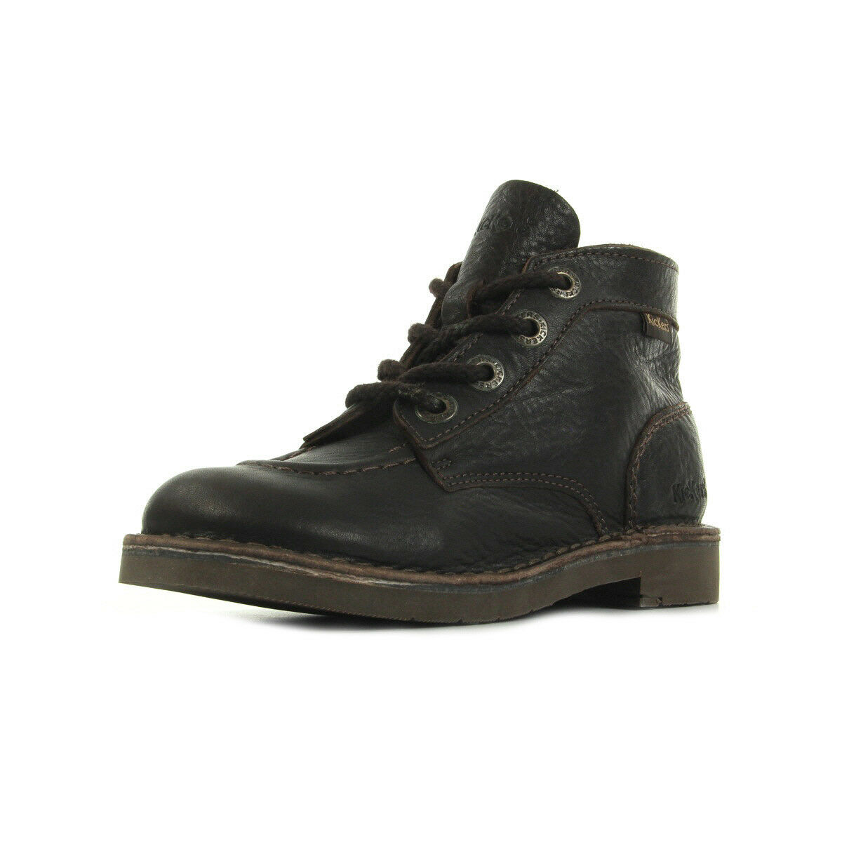 Bottines Kickers mujer Kick Col taille Marron Fonce Perm taille Col Cuir Lacets f14bd8