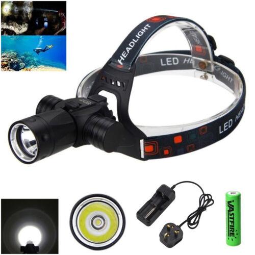 Underwater 100M 6000LM XML T6 LED Headlamp Head Torch Scuba Diving Vedio Lamp UK