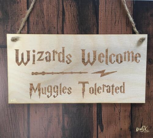 Wizards Bienvenue Muggles en Bois Plaque Signe Laser Gravé pq39