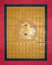 """108 Shakyamuni Buddha Gold Buddhist Tibetan 35"""" x 27"""" Thangka Scroll Painting"""