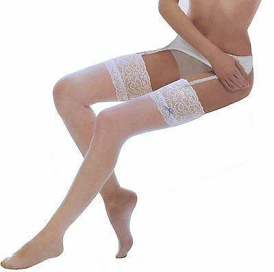 8 Denier Ivory Lace Top Stockings One Size