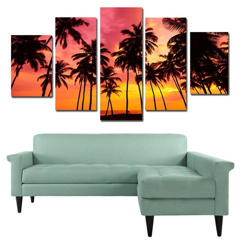 Tropical Island Palm Trees rot Sky Sunset 5 Panel Canvas Drucken Wand Kunst Poster